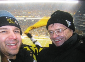 Me and my dad at the AFC championship game In 2009.  Best game I've ever been to.